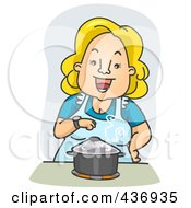 Royalty Free RF Clipart Illustration Of A Happy Woman Standing Over A Pot On A Stove by BNP Design Studio