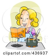 Happy Mom Reading A Cook Book And Stirring Soup Over Green