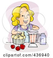 Royalty Free RF Clipart Illustration Of A Happy Mother Blending Juice