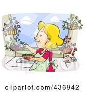 Royalty Free RF Clipart Illustration Of A Happy Woman Picking Herbs From Her Garden by BNP Design Studio