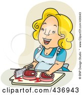 Royalty Free RF Clipart Illustration Of A Happy Mother Chopping Meat Over Tan