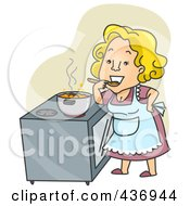Royalty Free RF Clipart Illustration Of A Happy Woman Tasting Her Stew Over Green by BNP Design Studio