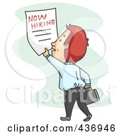 Royalty Free RF Clipart Illustration Of A Job Seeker Grabbing A Now Wanted Poster by BNP Design Studio