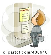 Royalty Free RF Clipart Illustration Of A Businessman Looking For A Job On A Poster by BNP Design Studio