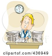 Royalty Free RF Clipart Illustration Of A Tired Businessman Working Overtime On Paperwork