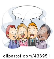 Royalty Free RF Clipart Illustration Of Business People Talking Under A Word Balloon by BNP Design Studio