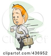Royalty Free RF Clipart Illustration Of A Fast Businessman Checking His Watch Over Green by BNP Design Studio