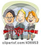Royalty Free RF Clipart Illustration Of A Happy Business Team Cutting A Red Ribbon