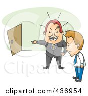 Royalty Free RF Clipart Illustration Of A Boss Firing His Employee And Pointing At A Door Over Green