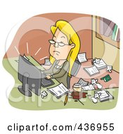 Royalty Free RF Clipart Illustration Of A Businesswoman Working In A Messy Office