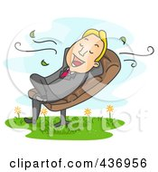 Royalty Free RF Clipart Illustration Of A Happy Businessman Relaxing In A Chair Outdoors