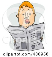 Royalty Free RF Clipart Illustration Of A Shocked Man Holding Up A Newspaper by BNP Design Studio