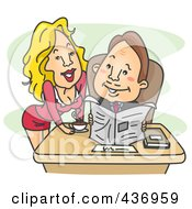 Royalty Free RF Clipart Illustration Of A Sexy Secretary Leaning Over A Desk And Smiling At Her Boss by BNP Design Studio