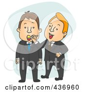 Royalty Free RF Clipart Illustration Of A Businessman Feeding A Colleague With A Spoon