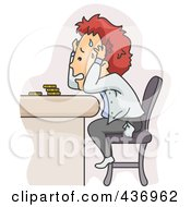Royalty Free RF Clipart Illustration Of A Stressed Man Worried About Money Problems by BNP Design Studio