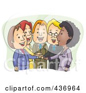 Royalty Free RF Clipart Illustration Of A Team Of Business People With Their Hands All In