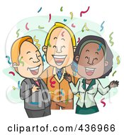Royalty Free RF Clipart Illustration Of A Happy Business Group At A Party Over Green