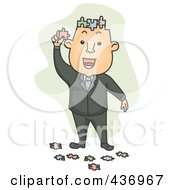 Royalty Free RF Clipart Illustration Of A Puzzle Brained Businessman Over Green by BNP Design Studio