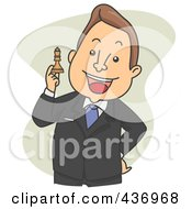 Royalty Free RF Clipart Illustration Of A Strategic Businessman Holding Up A Chess Piece Over Green by BNP Design Studio