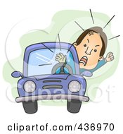 Royalty Free RF Clipart Illustration Of An Angry Man Waving His Fist While Stuck In Traffic by BNP Design Studio
