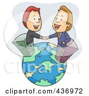 Royalty Free RF Clipart Illustration Of Two Businessmen In Skyscrapers Shaking Hand On A Globe by BNP Design Studio