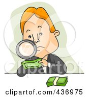 Royalty Free RF Clipart Illustration Of A Businessman Inspecting Money With A Magnifying Glass Over Green