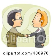 Royalty Free RF Clipart Illustration Of Two Businessmen Shaking Hands Over Green