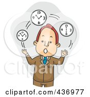 Royalty Free RF Clipart Illustration Of A Businessman Juggling Time Over Gray