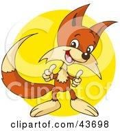 Clipart Illustration Of A Pleased Fox Giving Two Thumbs Up In Front Of A Yellow Circle by Holger Bogen #COLLC43698-0045
