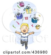 Royalty Free RF Clipart Illustration Of A Happy Boy Running Under Gifts And Confetti