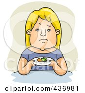 Royalty Free RF Clipart Illustration Of A Woman Holding A Plate With A Small Portion Of Food Over Green