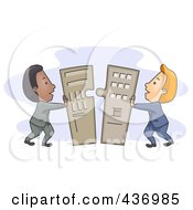 Royalty Free RF Clipart Illustration Of Businessmen Pushing Merger Pieces Together by BNP Design Studio