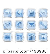 Digital Collage Of Blue And Silver Square Business And Office Icons