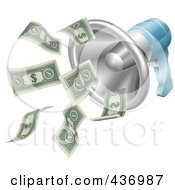 Royalty Free RF Clipart Illustration Of A Money Flying Out Of A 3d Megaphone by AtStockIllustration
