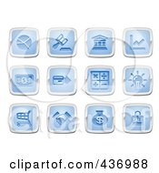 Royalty Free RF Clipart Illustration Of A Digital Collage Of Blue And Silver Square Business And Finance Icons
