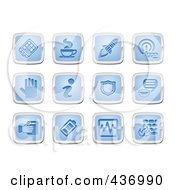 Royalty Free RF Clipart Illustration Of A Digital Collage Of Blue And Silver Application Icons