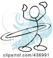 Royalty Free RF Clipart Illustration Of A Stickler Stick Person Using A Hula Hoop 5 by Johnny Sajem