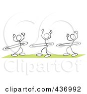 Royalty Free RF Clipart Illustration Of A Digital Collage Of Stickler Stick People Using Hula Hoops by Johnny Sajem