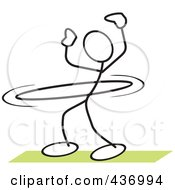 Royalty Free RF Clipart Illustration Of A Stickler Stick Person Using A Hula Hoop 1