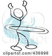 Royalty Free RF Clipart Illustration Of A Stickler Stick Person Using A Hula Hoop 6 by Johnny Sajem