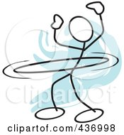 Royalty Free RF Clipart Illustration Of A Stickler Stick Person Using A Hula Hoop 4 by Johnny Sajem