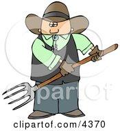 Cowboy Farmer Holding A Pitchfork Clipart