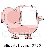 Clipart Illustration Of A Pink Pig Looking Back At A Sign Draped On His Side