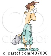 Royalty Free RF Clipart Illustration Of A Male Patient Looking Back At The Velcro On His Hospital Gown