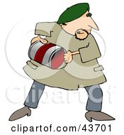 Clipart Illustration Of A Male Artist Creating An Abstract Piece By Throwing Cans Of Paint by djart