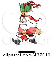Royalty Free RF Clipart Illustration Of Santa Running And Holding Up A Gift