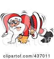 Royalty Free RF Clipart Illustration Of Santa Sweating And Doing Pushups by Zooco