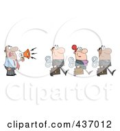 Royalty Free RF Clipart Illustration Of A Hispanic Businessman Yelling After His Wind Up Employees With A Megaphone