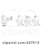 Royalty Free RF Clipart Illustration Of An Outlined Businessman Yelling After His Wind Up Employees With A Megaphone