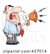 Caucasian Businessman Yelling Through A Megaphone